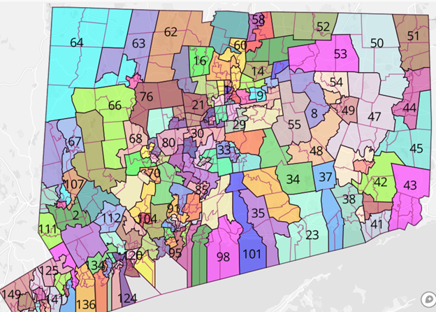CT State House Districts  (Image Credit:  Dave's Redistricting)