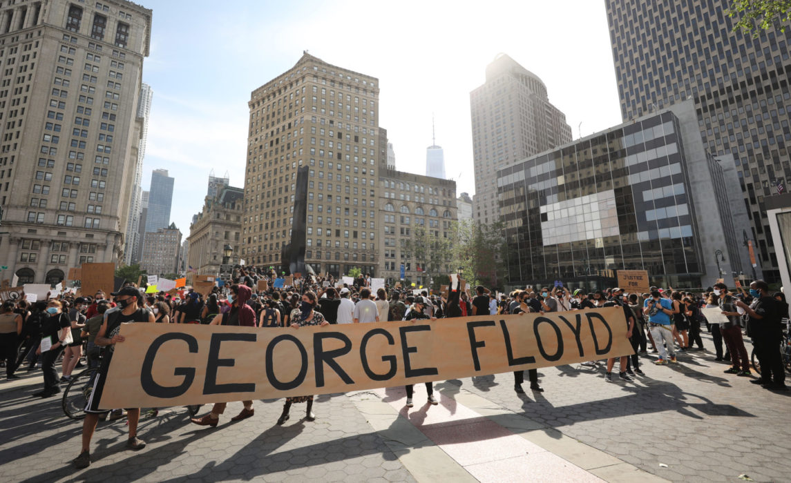 Protests in support of Minnesota are breaking out across the nation. Pictured is a protest in Brooklyn, NY.