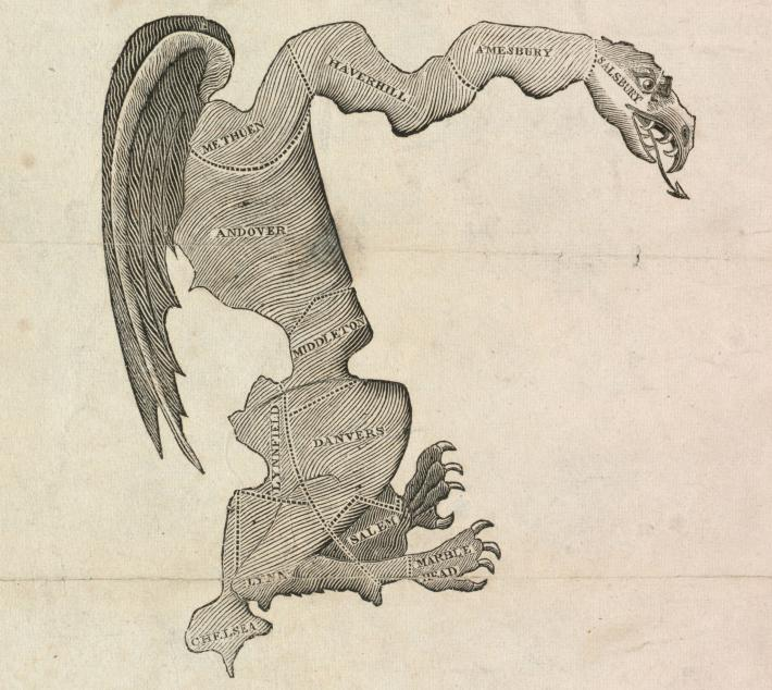 The original gerrymander, a Massachusetts district drawn in the early 1800s