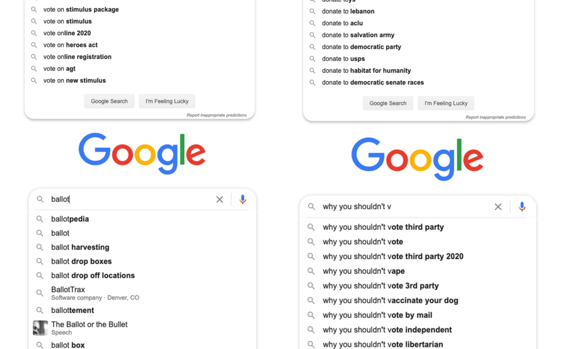 Google autocomplete searches for voting related issues